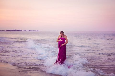 Maternity Photography in RI and surrounding areas - sunset on the beach