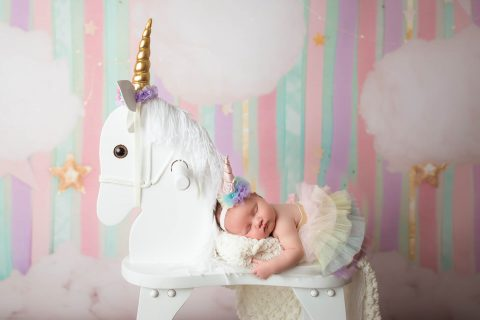 Family Photography in RI and surrounding areas - newborn with unicorn